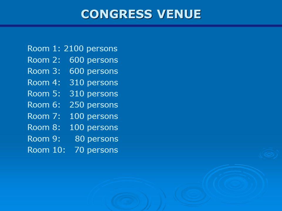 CONGRESS VENUE Room 1: 2100 persons Room 2: 600 persons Room 3: 600 persons Room 4: 310 persons Room 5: 310 persons Room 6: 250 persons Room 7: 100 pe
