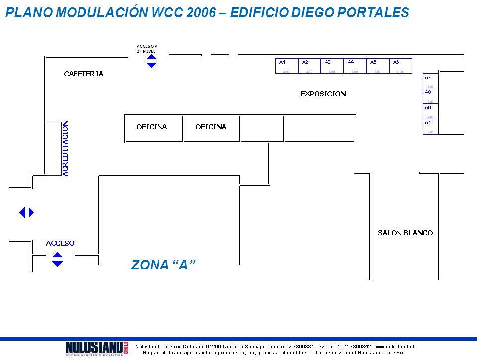 """PLANO MODULACIÓN WCC 2006 – EDIFICIO DIEGO PORTALES ZONA """"A"""""""