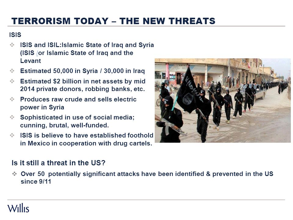 TERRORISM TODAY – THE NEW THREATS ISIS  ISIS and ISIL:Islamic State of Iraq and Syria (ISIS /or Islamic State of Iraq and the Levant/  Estimated 50,000 in Syria / 30,000 in Iraq  Estimated $2 billion in net assets by mid 2014 private donors, robbing banks, etc.