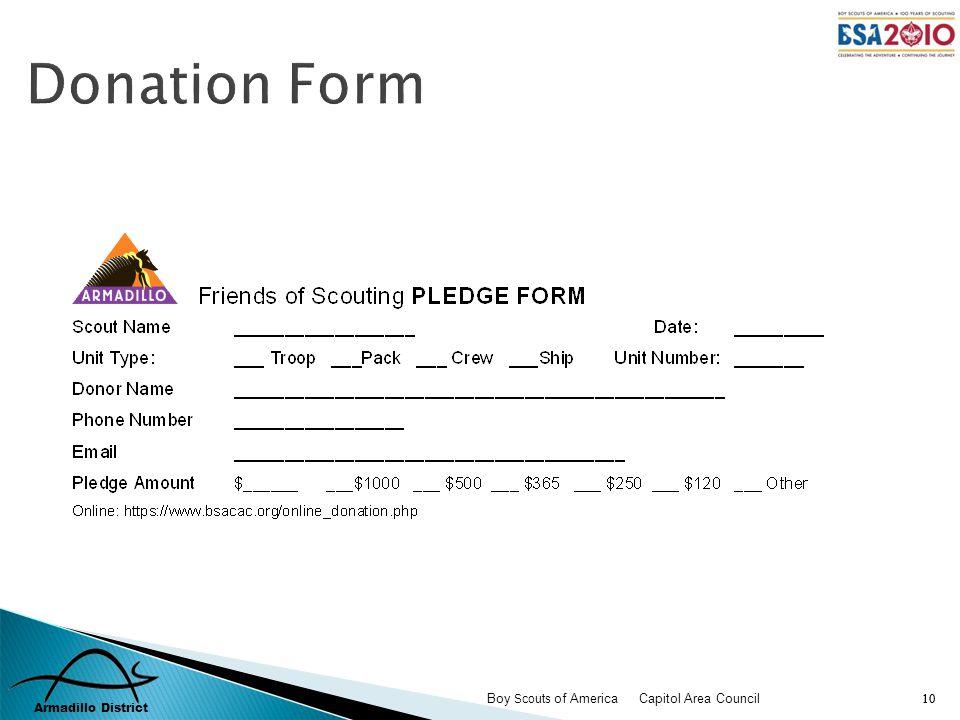 Armadillo District Boy Scouts of America Capitol Area Council 10 Donation Form
