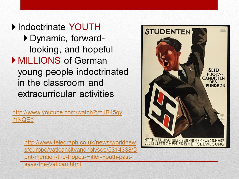  Indoctrinate YOUTH  Dynamic, forward- looking, and hopeful  MILLIONS of German young people indoctrinated in the classroom and extracurricular activities http://www.youtube.com/watch v=JB45qy mNQEo http://www.telegraph.co.uk/news/worldnew s/europe/vaticancityandholysee/5314338/D ont-mention-the-Popes-Hitler-Youth-past- says-the-Vatican.html