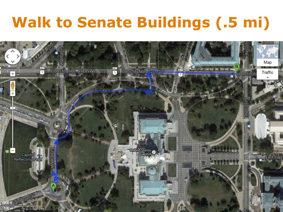 Walk to Senate Buildings (.5 mi)