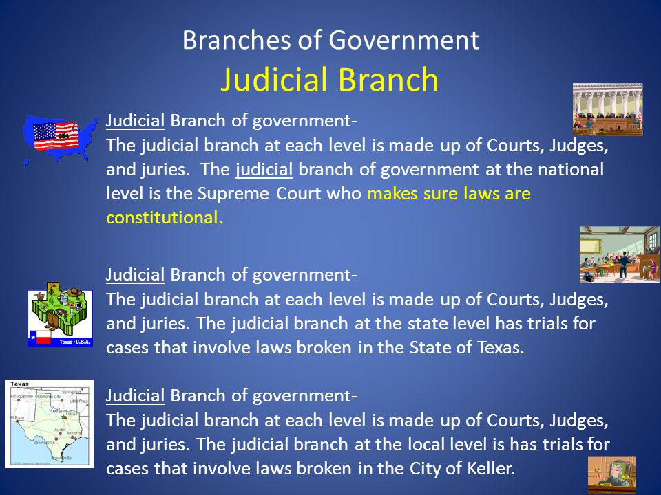 Branches of Government Judicial Branch Judicial Branch of government- The judicial branch at each level is made up of Courts, Judges, and juries. The