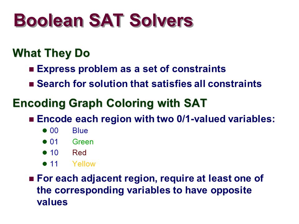 Boolean SAT Solvers What They Do Express problem as a set of constraints Search for solution that satisfies all constraints Encoding Graph Coloring with SAT Encode each region with two 0/1-valued variables: 00Blue 01Green 10Red 11Yellow For each adjacent region, require at least one of the corresponding variables to have opposite values
