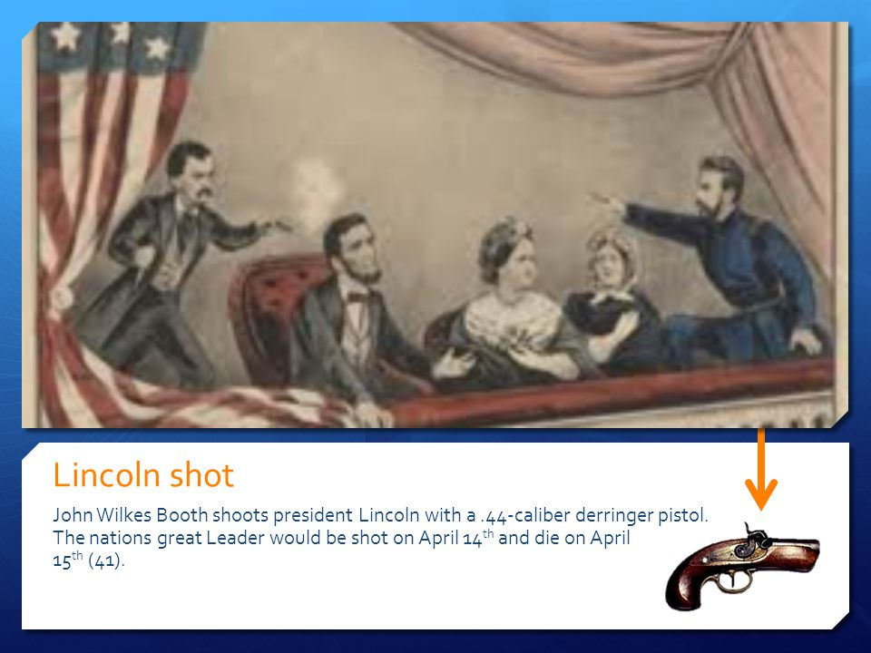 Lincoln shot John Wilkes Booth shoots president Lincoln with a.44-caliber derringer pistol. The nations great Leader would be shot on April 14 th and