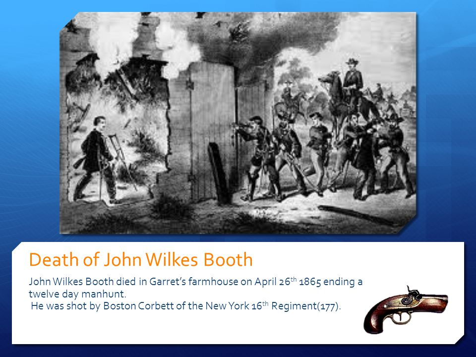 Death of John Wilkes Booth John Wilkes Booth died in Garret's farmhouse on April 26 th 1865 ending a twelve day manhunt. He was shot by Boston Corbett