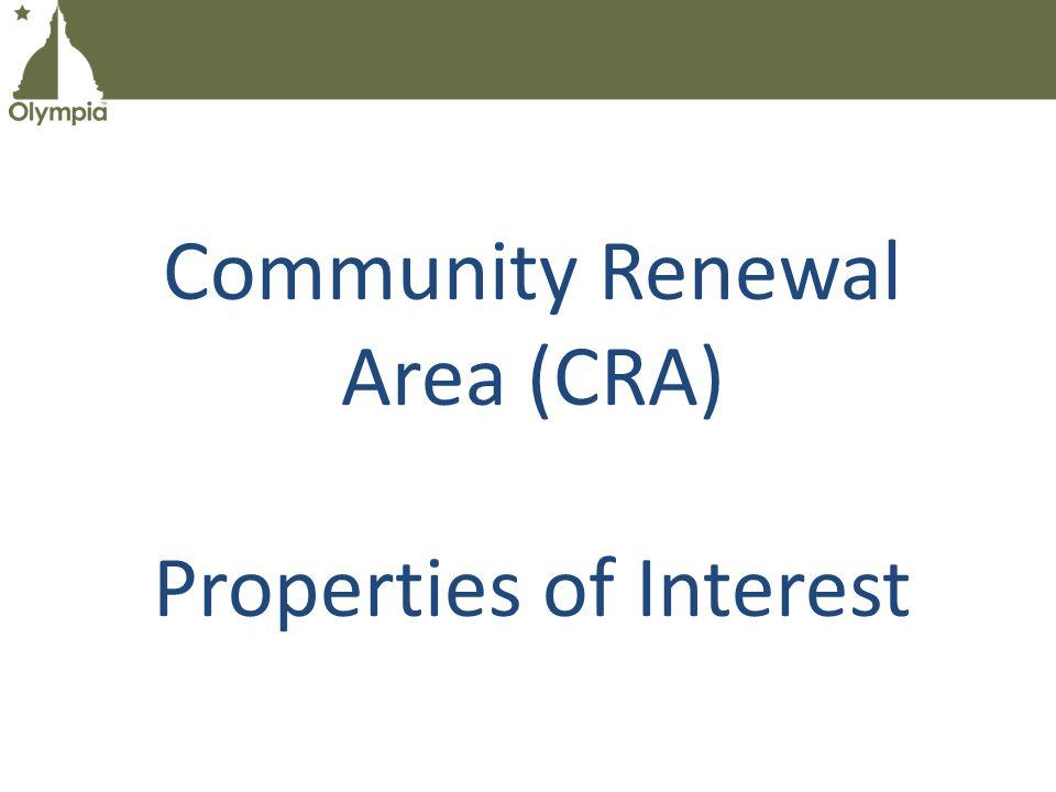 Community Renewal Area (CRA) Properties of Interest
