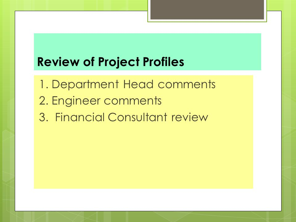 Review of Project Profiles 1.Department Head comments 2.
