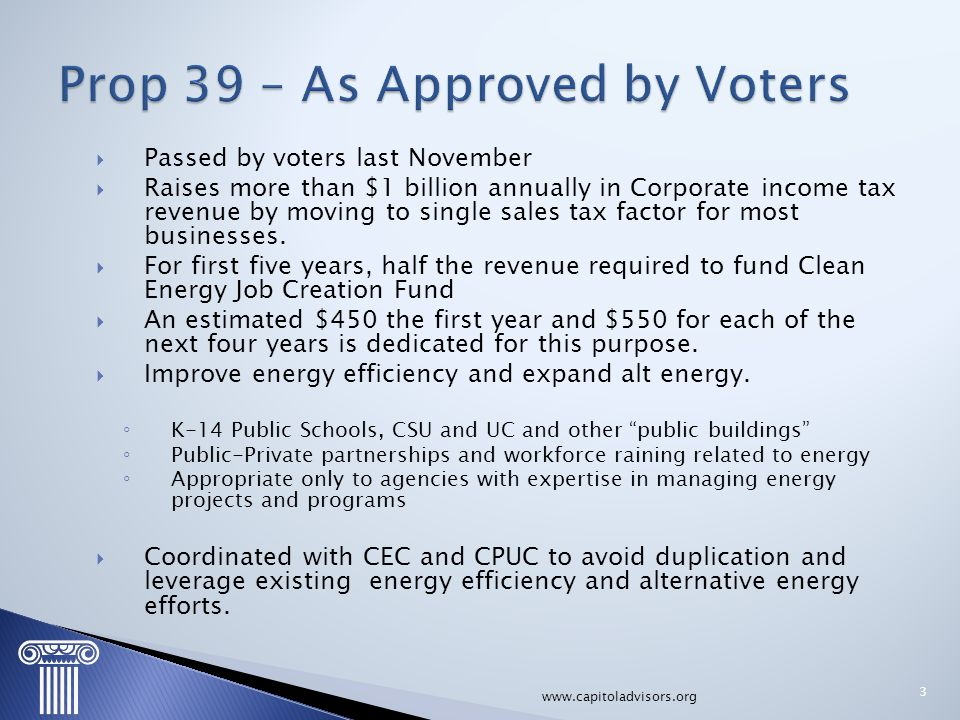  Passed by voters last November  Raises more than $1 billion annually in Corporate income tax revenue by moving to single sales tax factor for most