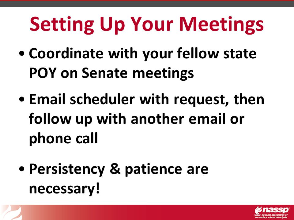 Setting Up Your Meetings Coordinate with your fellow state POY on Senate meetings Email scheduler with request, then follow up with another email or phone call Persistency & patience are necessary!