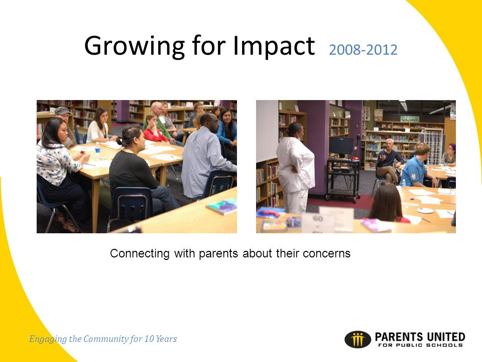 Engaging the Community for 10 Years Growing for Impact 2008-2012 Connecting with parents about their concerns