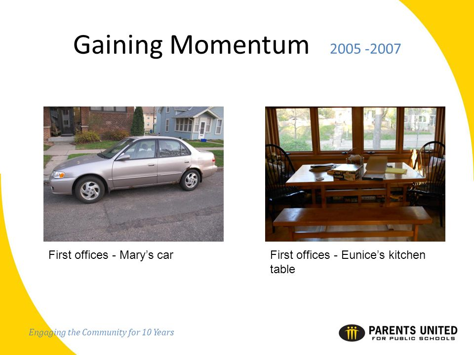 Engaging the Community for 10 Years Gaining Momentum 2005 -2007 First offices - Mary's carFirst offices - Eunice's kitchen table