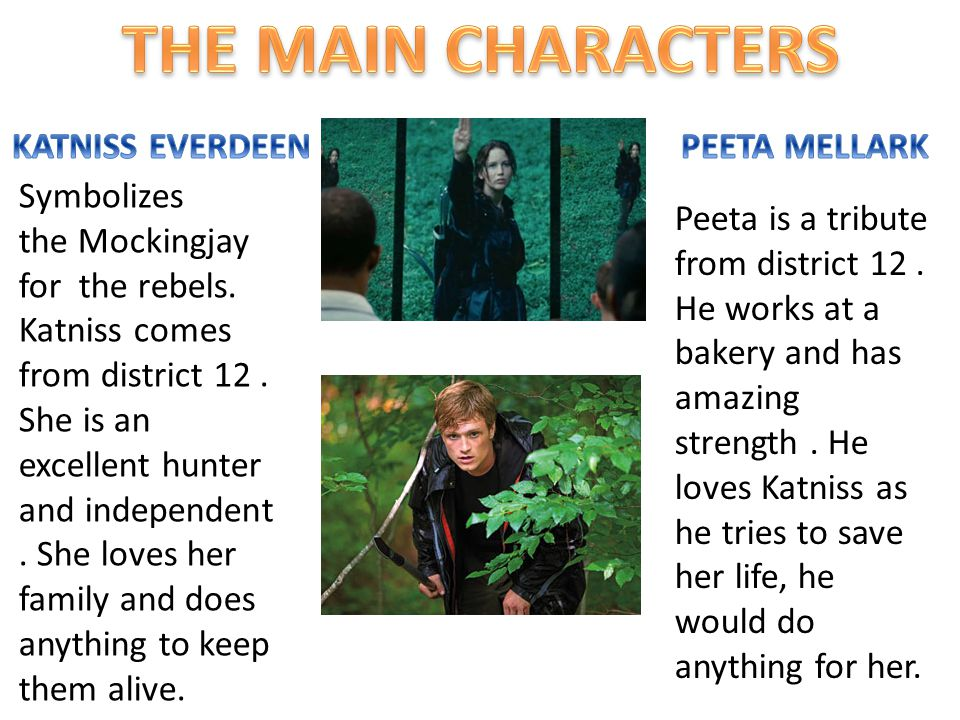 Peeta is a tribute from district 12. He works at a bakery and has amazing strength. He loves Katniss as he tries to save her life, he would do anythin