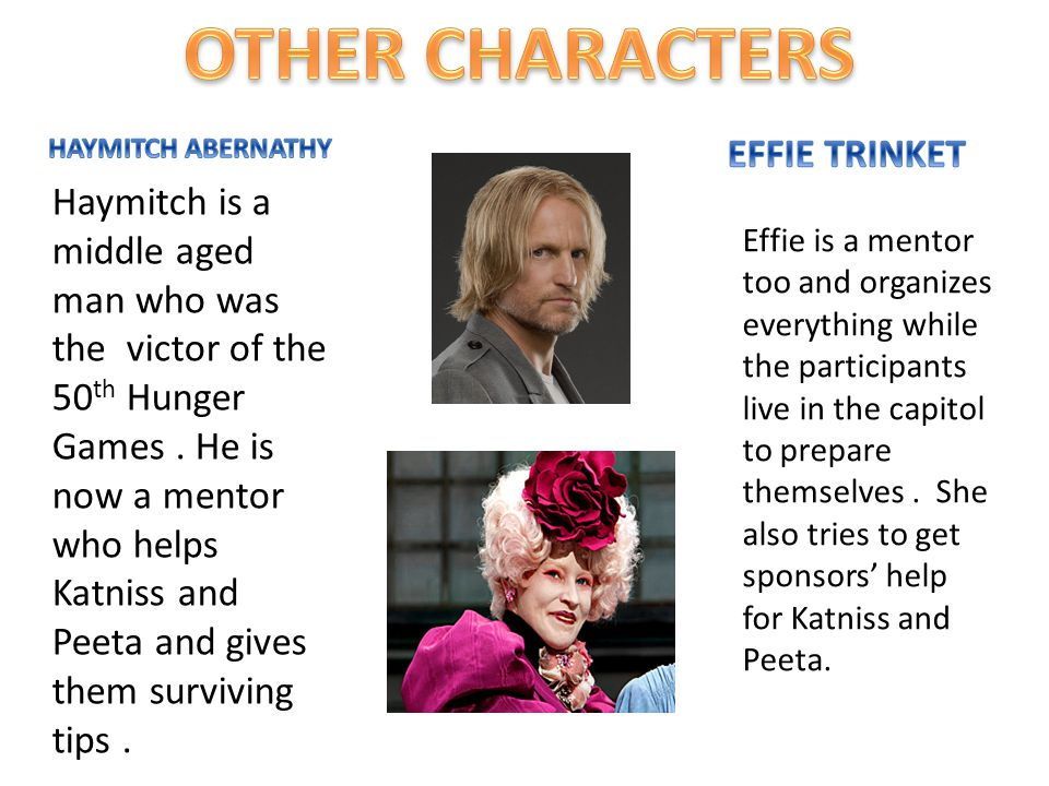 Haymitch is a middle aged man who was the victor of the 50 th Hunger Games. He is now a mentor who helps Katniss and Peeta and gives them surviving ti