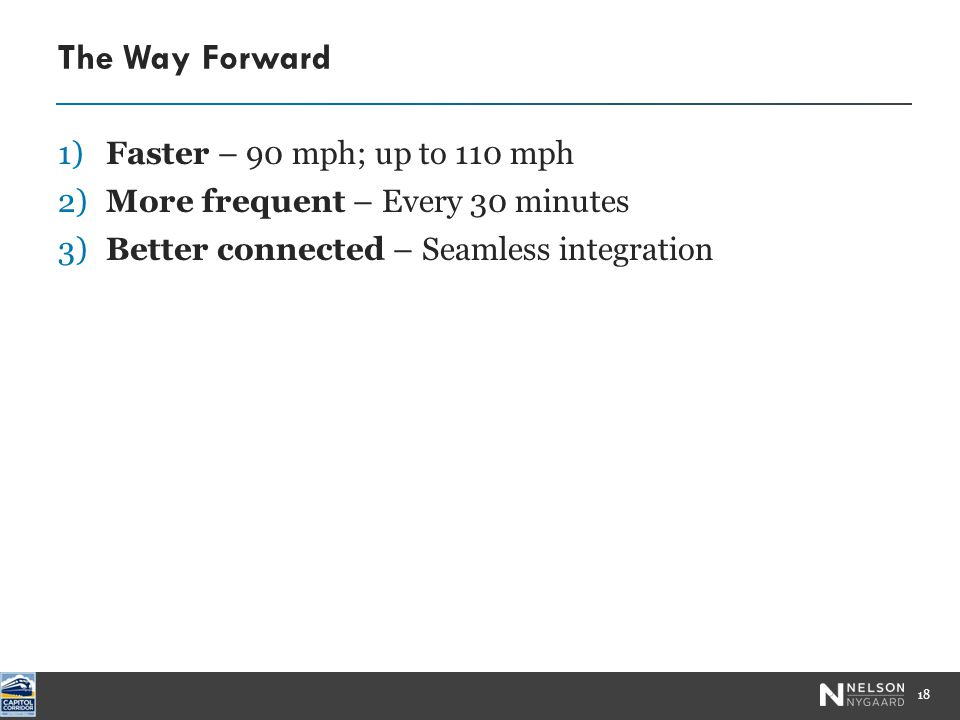 The Way Forward 1)Faster – 90 mph; up to 110 mph 18 2)More frequent – Every 30 minutes 3)Better connected – Seamless integration