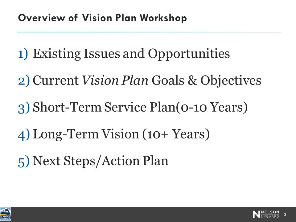 1)Existing Issues and Opportunities 2)Current Vision Plan Goals & Objectives 3)Short-Term Service Plan(0-10 Years) 4)Long-Term Vision (10+ Years) 5)Next Steps/Action Plan Overview of Vision Plan Workshop 2 Photo by Robert Couse-Baker
