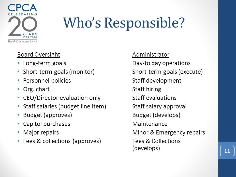 Who's Responsible? Board OversightAdministrator Long-term goalsDay-to day operations Short-term goals (monitor)Short-term goals (execute) Personnel po