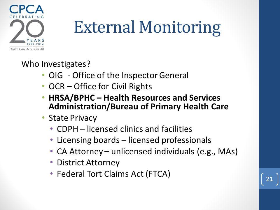 External Monitoring Who Investigates.