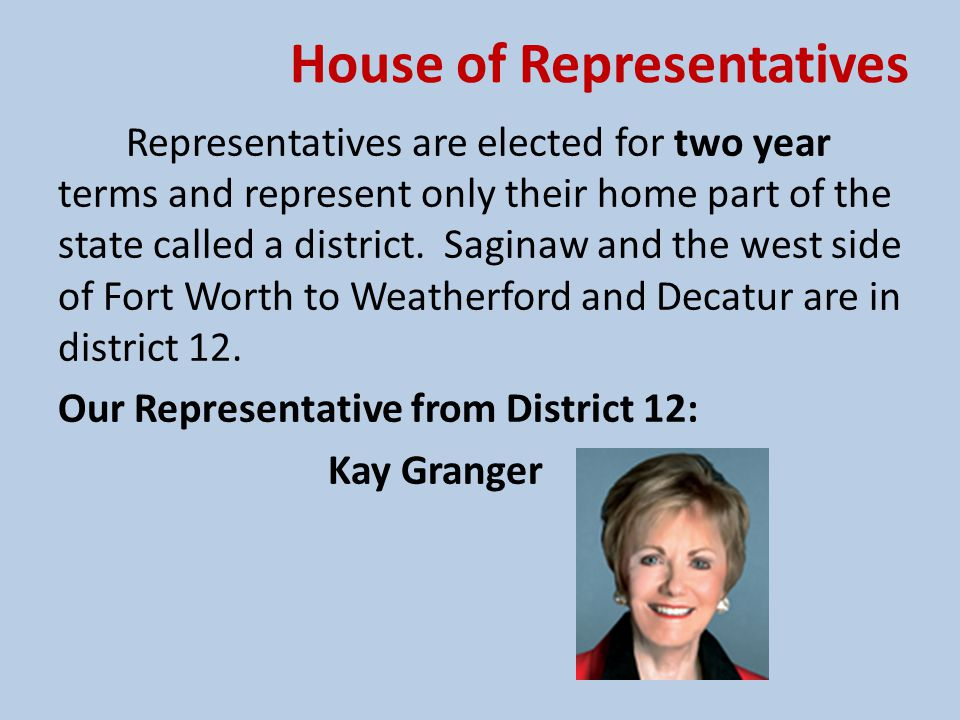House of Representatives Representatives are elected for two year terms and represent only their home part of the state called a district. Saginaw and