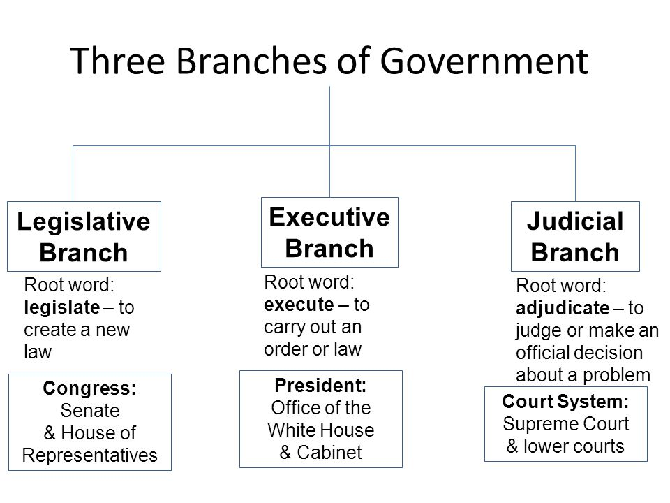 Three Branches of Government Legislative Branch Executive Branch Judicial Branch Root word: legislate – to create a new law Root word: execute – to ca