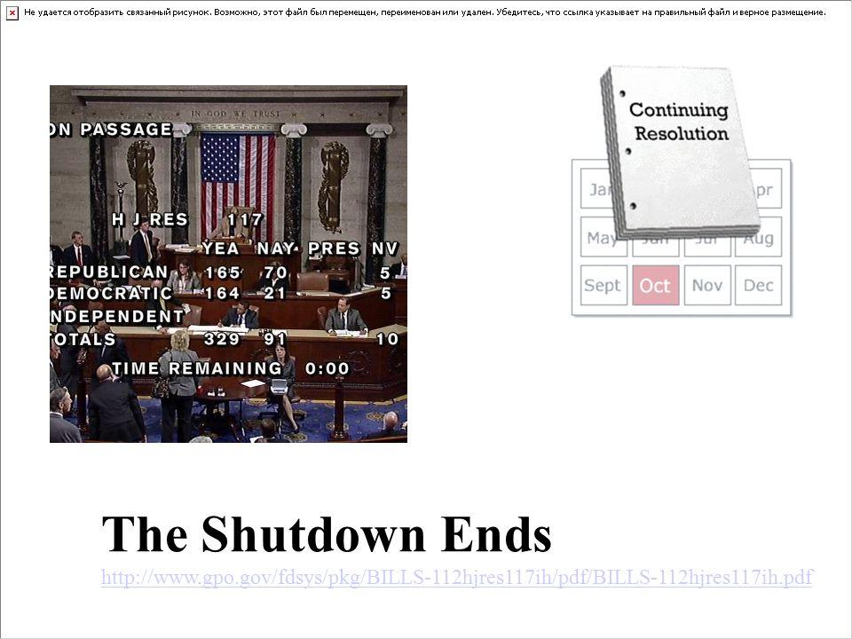 The Shutdown Ends http://www.gpo.gov/fdsys/pkg/BILLS-112hjres117ih/pdf/BILLS-112hjres117ih.pdf http://www.gpo.gov/fdsys/pkg/BILLS-112hjres117ih/pdf/BILLS-112hjres117ih.pdf