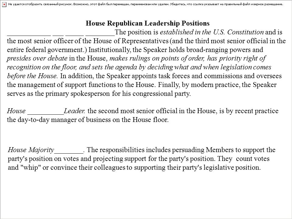 House Republican Leadership Positions ____________ ___ _____ ________The position is established in the U.S.