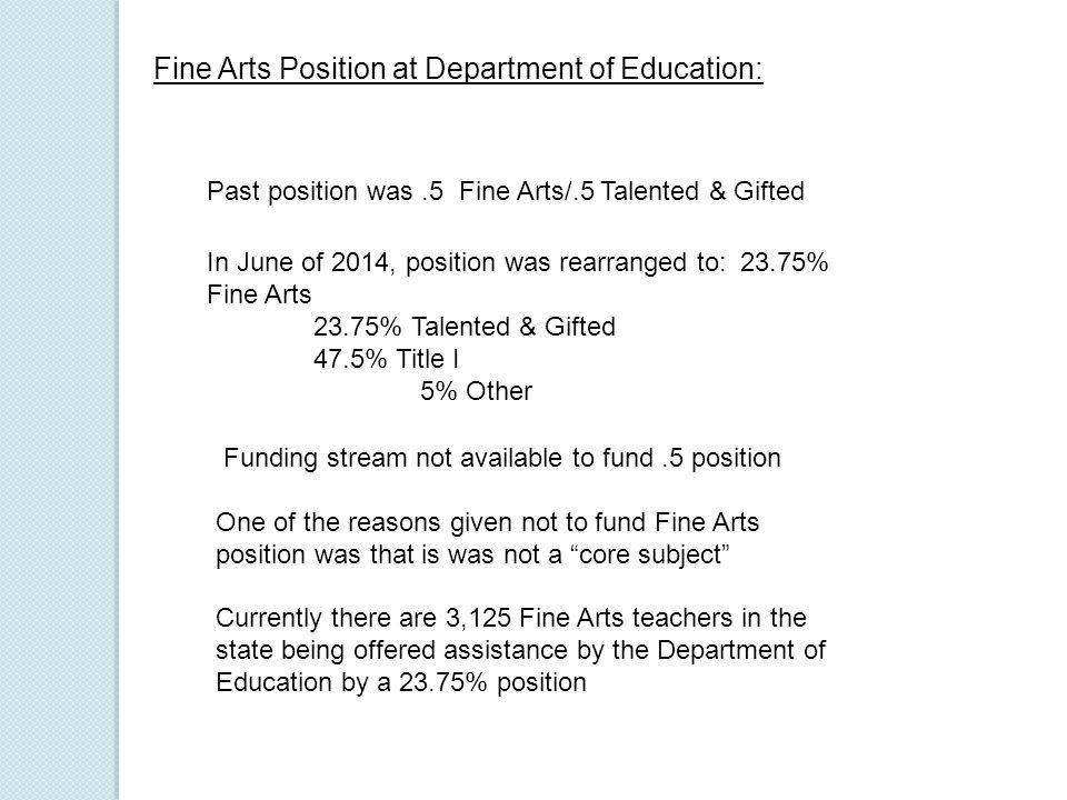 Fine Arts Position at Department of Education: Past position was.5 Fine Arts/.5 Talented & Gifted In June of 2014, position was rearranged to: 23.75% Fine Arts 23.75% Talented & Gifted 47.5% Title I 5% Other Funding stream not available to fund.5 position One of the reasons given not to fund Fine Arts position was that is was not a core subject Currently there are 3,125 Fine Arts teachers in the state being offered assistance by the Department of Education by a 23.75% position