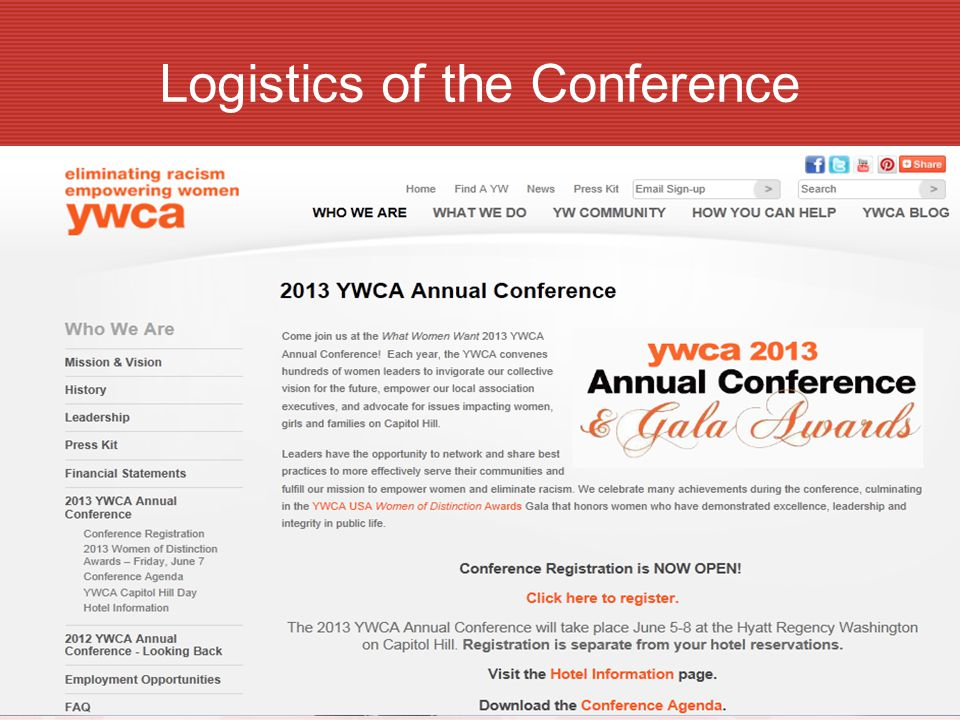 Logistics of the Conference