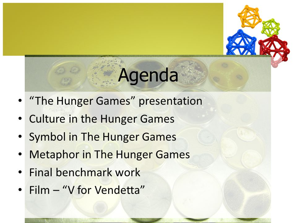 Agenda The Hunger Games presentation Culture in the Hunger Games Symbol in The Hunger Games Metaphor in The Hunger Games Final benchmark work Film – V for Vendetta