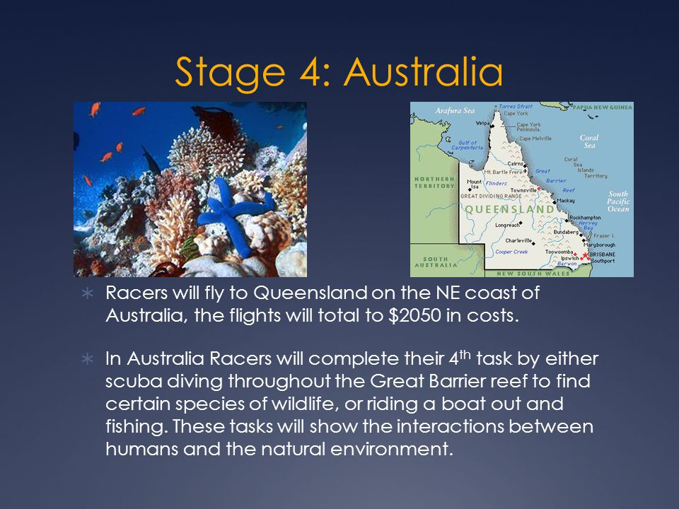 Stage 4: Australia  Racers will fly to Queensland on the NE coast of Australia, the flights will total to $2050 in costs.
