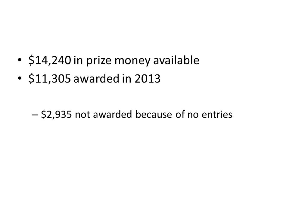 $14,240 in prize money available $11,305 awarded in 2013 – $2,935 not awarded because of no entries