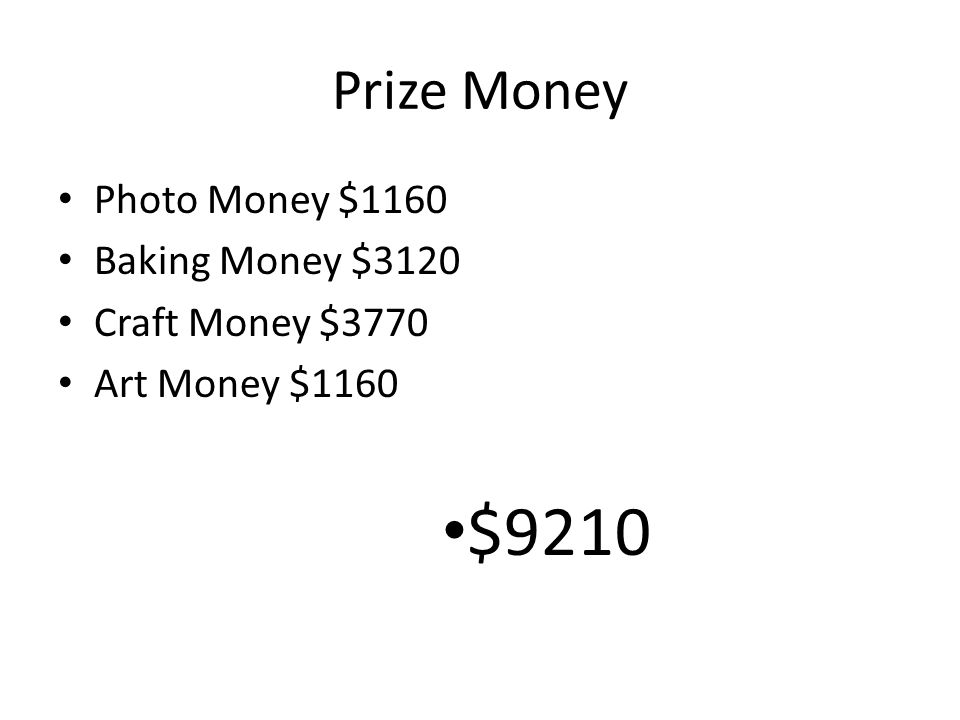 Prize Money Photo Money $1160 Baking Money $3120 Craft Money $3770 Art Money $1160 $9210