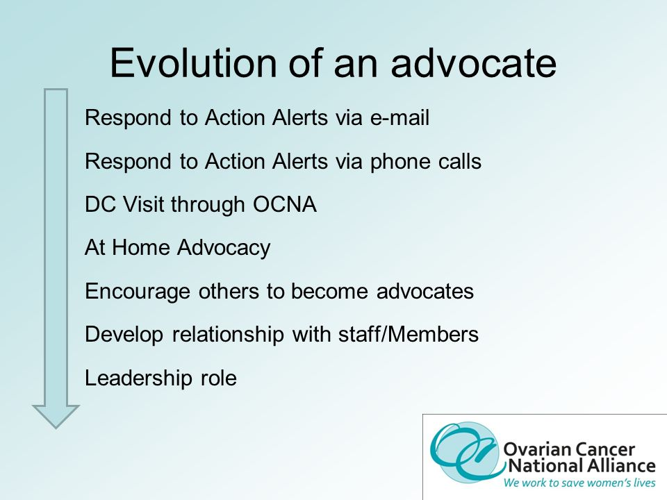 Evolution of an advocate Respond to Action Alerts via e-mail Respond to Action Alerts via phone calls DC Visit through OCNA At Home Advocacy Encourage others to become advocates Develop relationship with staff/Members Leadership role