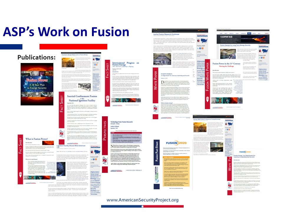 ASP's Work on Fusion Publications: