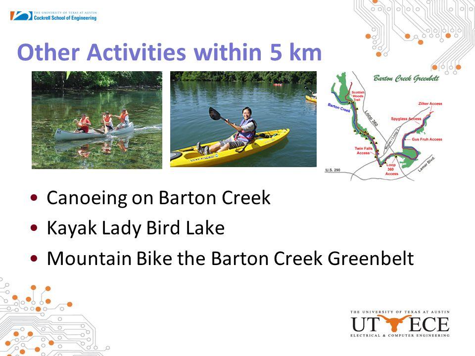 Other Activities within 5 km Canoeing on Barton Creek Kayak Lady Bird Lake Mountain Bike the Barton Creek Greenbelt