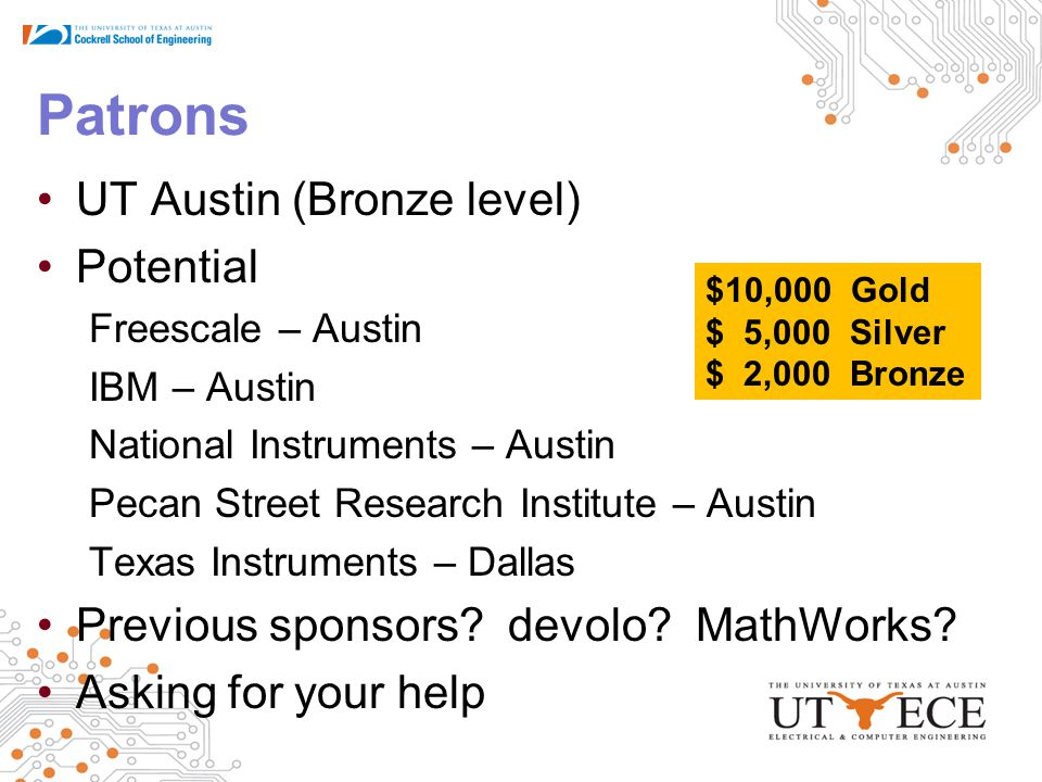 Patrons UT Austin (Bronze level) Potential Freescale – Austin IBM – Austin National Instruments – Austin Pecan Street Research Institute – Austin Texas Instruments – Dallas Previous sponsors.