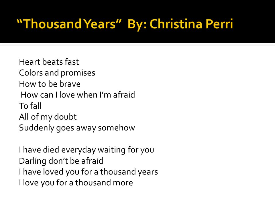 I chose the song Thousand Years by Christina Perri because I think this song relates to how Peeta feels about Katniss.