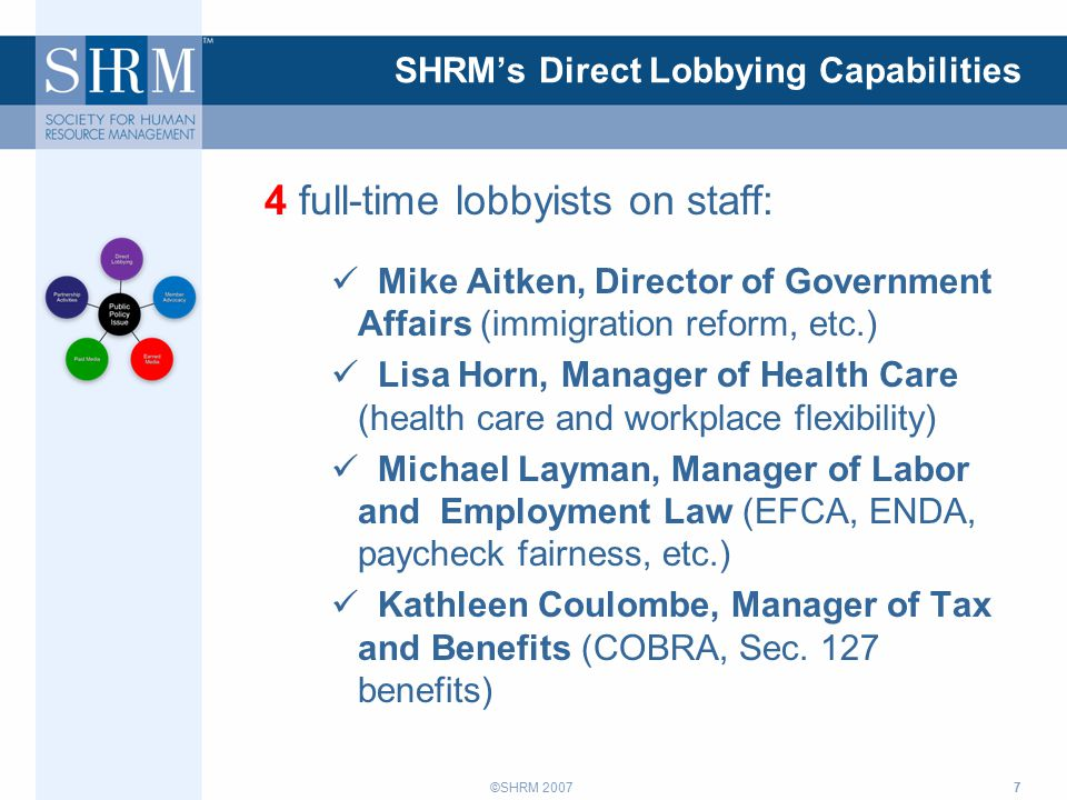 ©SHRM 2007 SHRM's Direct Lobbying Capabilities 4 full-time lobbyists on staff: Mike Aitken, Director of Government Affairs (immigration reform, etc.) Lisa Horn, Manager of Health Care (health care and workplace flexibility) Michael Layman, Manager of Labor and Employment Law (EFCA, ENDA, paycheck fairness, etc.) Kathleen Coulombe, Manager of Tax and Benefits (COBRA, Sec.