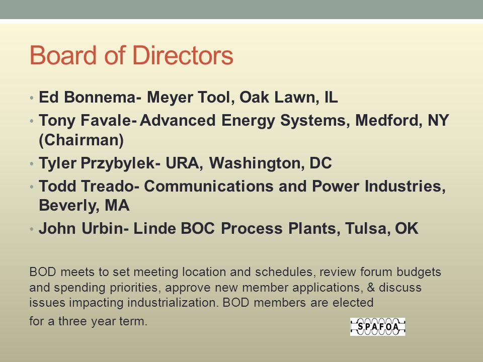 Board of Directors Ed Bonnema- Meyer Tool, Oak Lawn, IL Tony Favale- Advanced Energy Systems, Medford, NY (Chairman) Tyler Przybylek- URA, Washington,