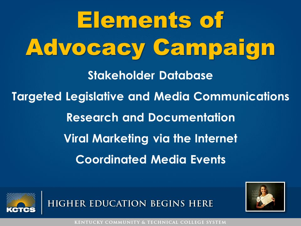 Stakeholder Database Targeted Legislative and Media Communications Research and Documentation Viral Marketing via the Internet Coordinated Media Event