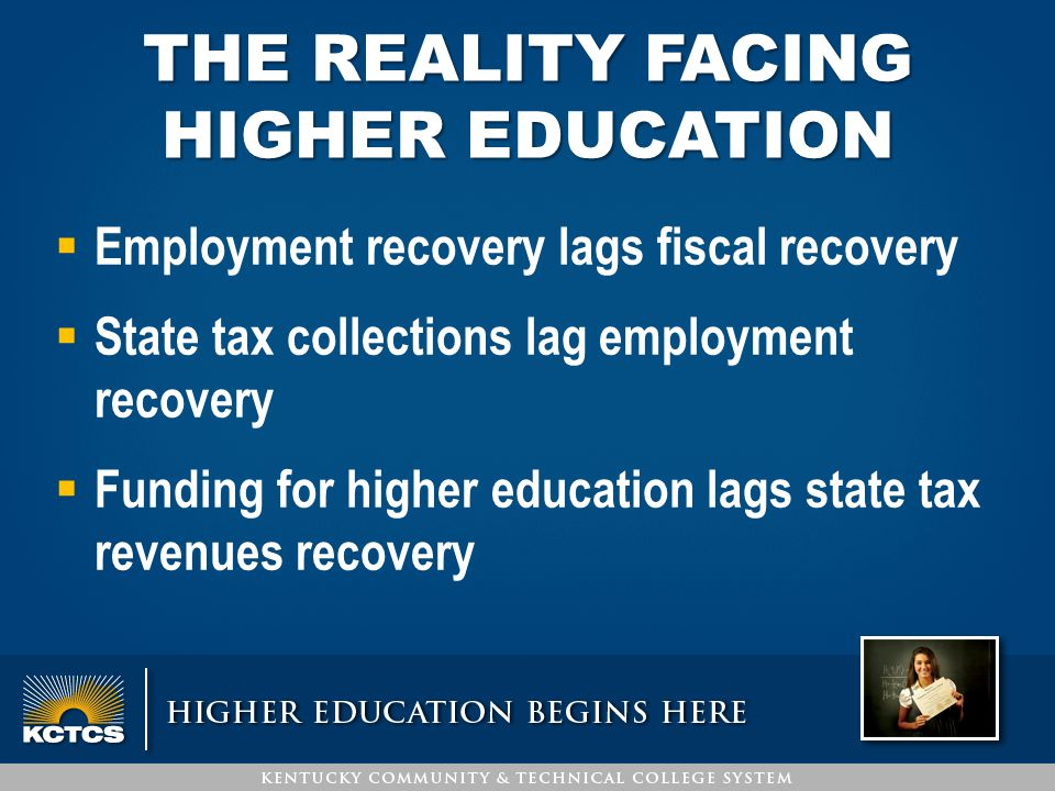 THE REALITY FACING HIGHER EDUCATION  Employment recovery lags fiscal recovery  State tax collections lag employment recovery  Funding for higher ed