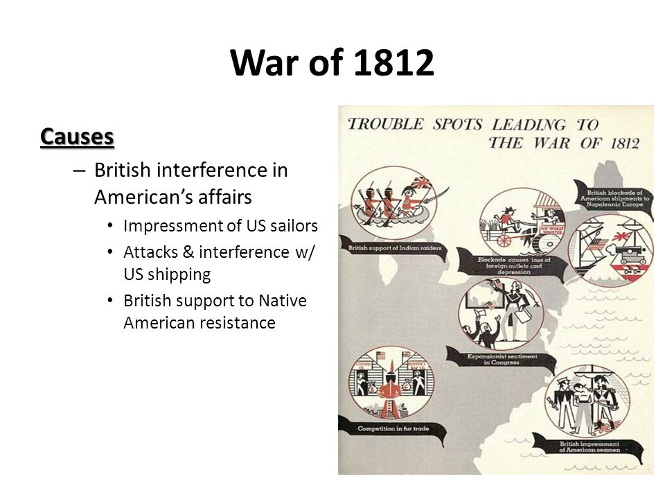 War of 1812 Causes – British interference in American's affairs Impressment of US sailors Attacks & interference w/ US shipping British support to Native American resistance