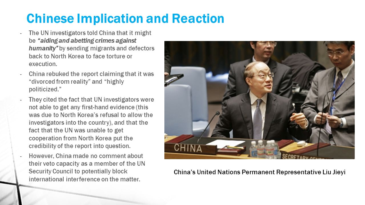 "Chinese Implication and Reaction - The UN investigators told China that it might be ""aiding and abetting crimes against humanity"" by sending migrants"