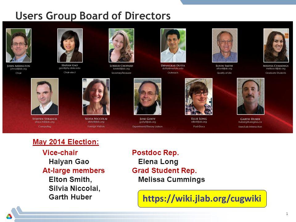Users Group Board of Directors May 2014 Election: 1 Vice-chair Haiyan Gao At-large members Elton Smith, Silvia Niccolai, Garth Huber Postdoc Rep.