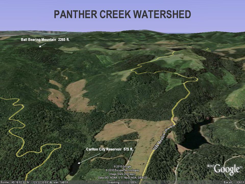 PANTHER CREEK WATERSHED Ball Bearing Mountain 2265 ft. Carlton City Reservoir 575 ft.