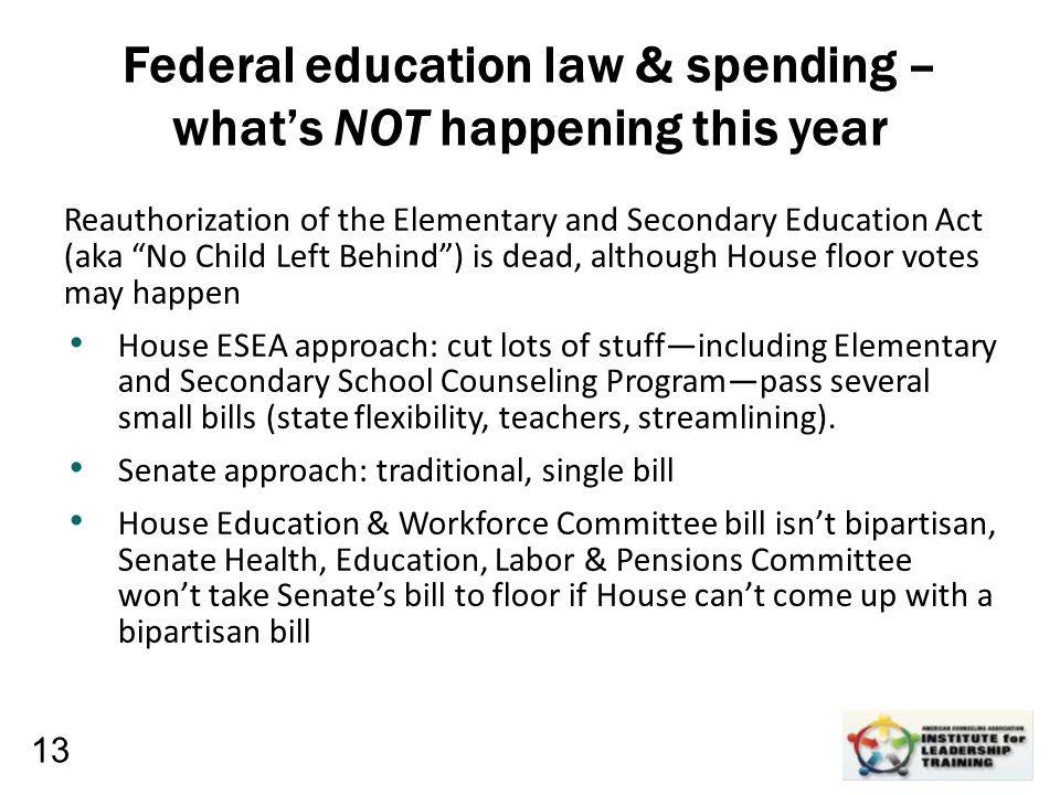 Leadership, Organizational, Personal Development Federal education law & spending – what's NOT happening this year Reauthorization of the Elementary a