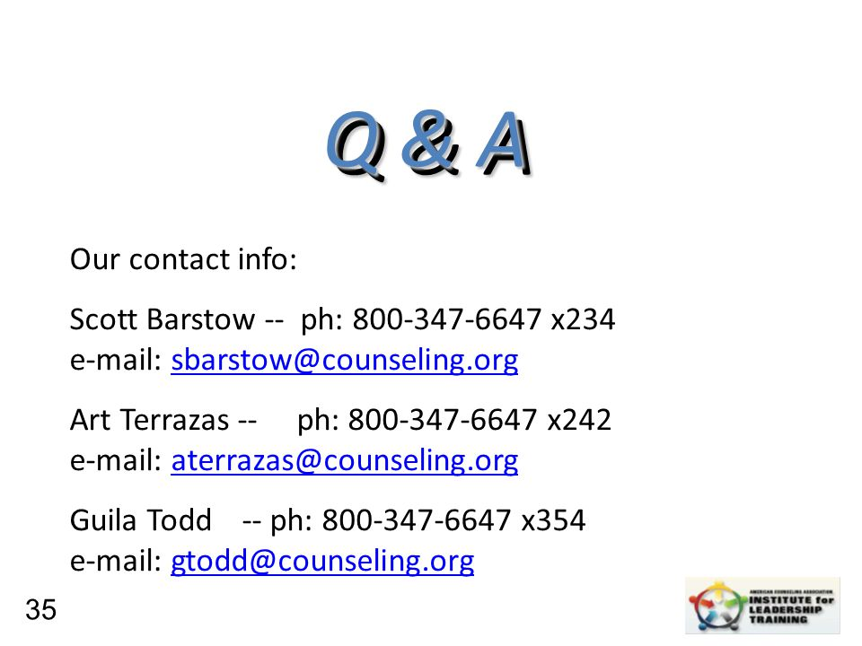 Leadership, Organizational, Personal Development Q & A Q & A Our contact info: Scott Barstow -- ph: 800-347-6647 x234 e-mail: sbarstow@counseling.orgs