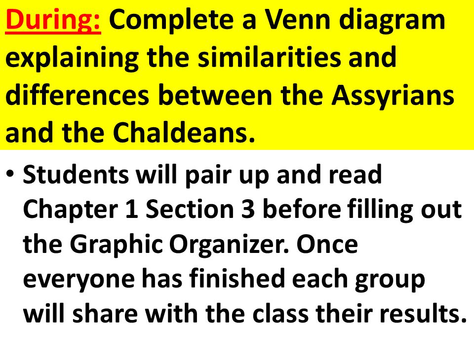 During: Complete a Venn diagram explaining the similarities and differences between the Assyrians and the Chaldeans. Students will pair up and read Ch