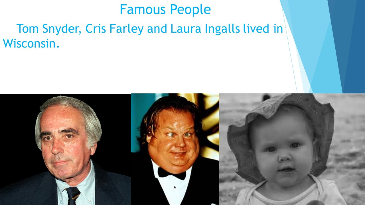 Famous People Tom Snyder, Cris Farley and Laura Ingalls lived in Wisconsin.