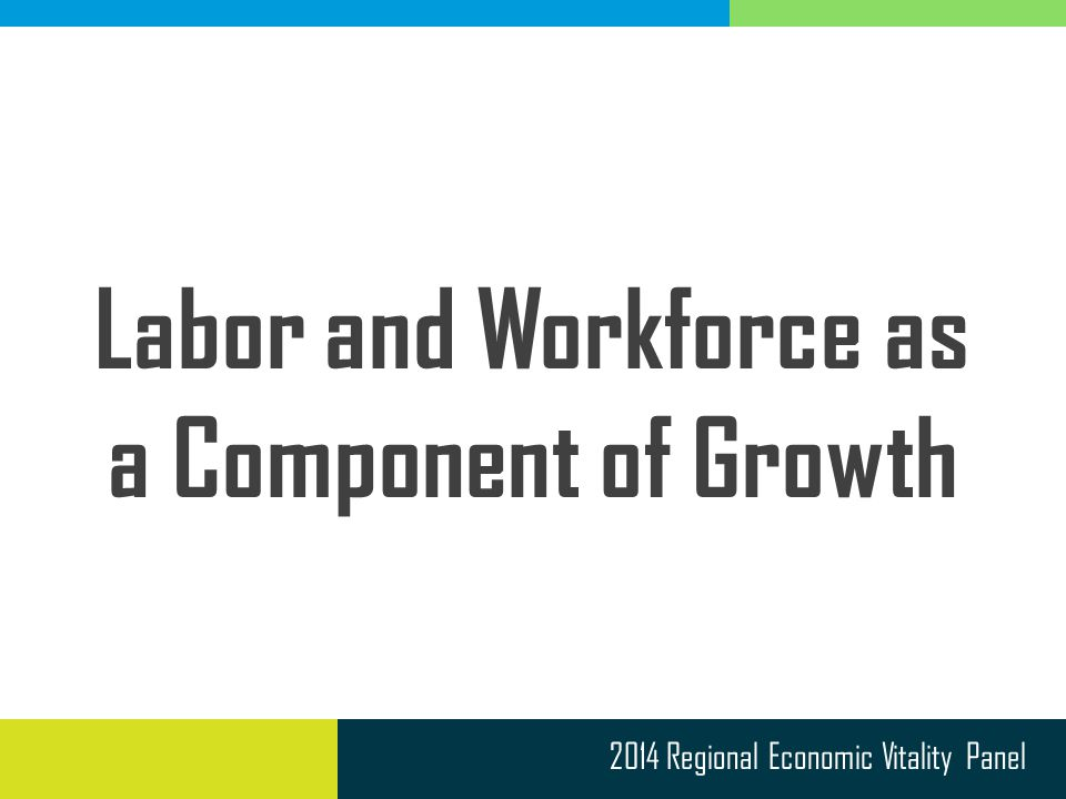 2014 Regional Economic Vitality Panel Labor and Workforce as a Component of Growth